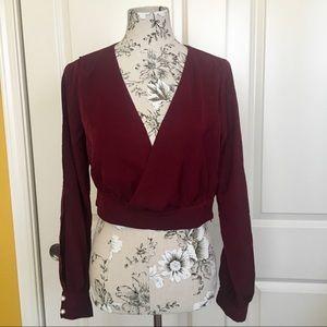 Burgundy Cropped Long Sleeve Surplice Pearl Top